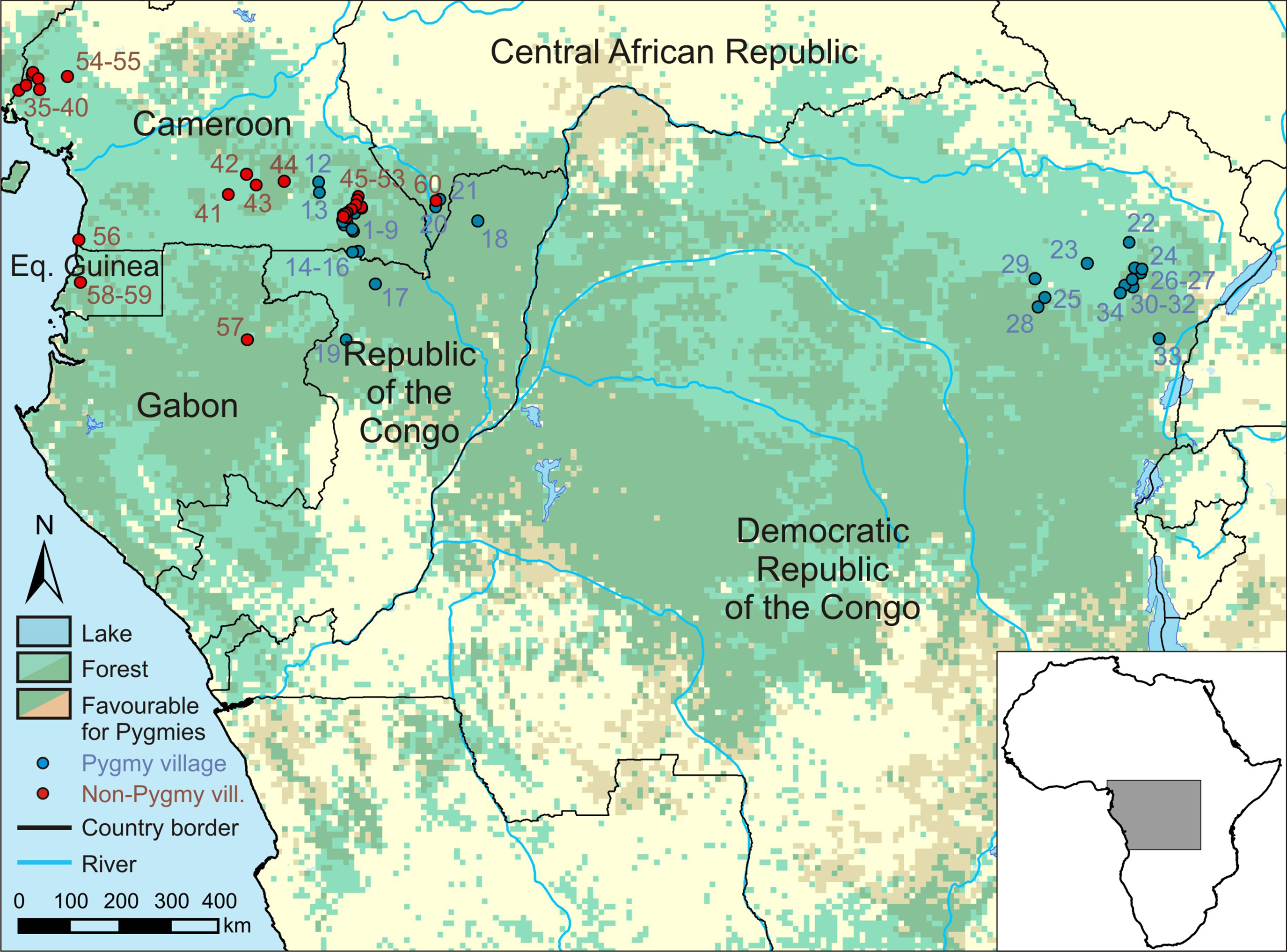 Congo Basin On Map Of Africa.Differences Between Pygmy And Non Pygmy Hunting In Congo Basin