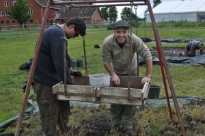 MA Student Matthew Delvaux ('13) sifts soil samples on a 2012 excavation of Viking Age Uppakra (Lund, Sweden), led by UF Prof. Florin Curta as part of UF's