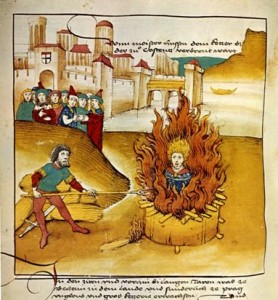 Burning of Jan Hus at the stake, Diebold Schilling, Spiezer Chronik (1485)