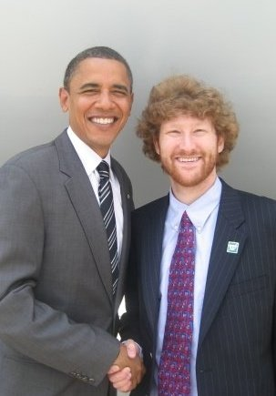 Joel Mendelson (M.A. 2015) with the 44th President of the United States, Barack Obama