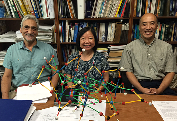 From left: George Christou (Chemistry), Hai-Ping Cheng (Physics), and Xiao-Guang Zhang (Physics)