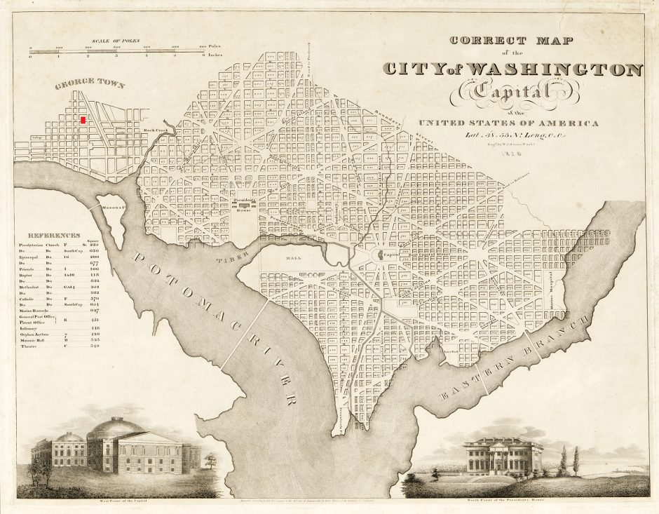 19th century etched map of city of Washington