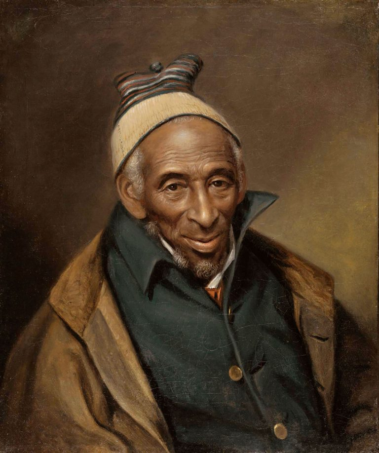 oil painting of kindly elderly man with brown skin and kufi cap