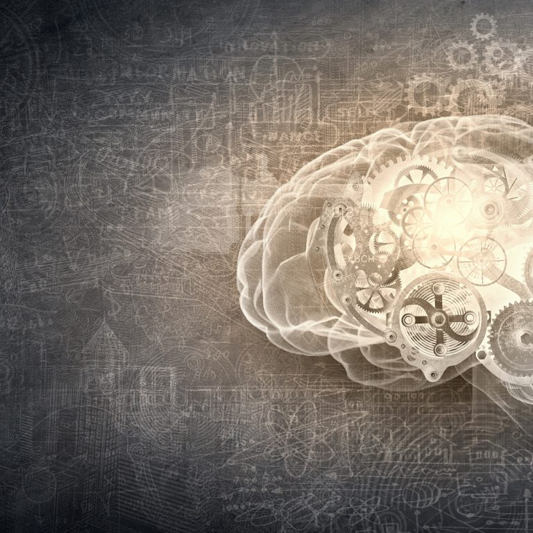 Illustration of a brain with gears inside of it