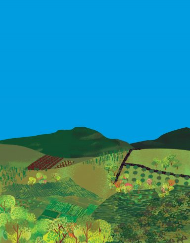 whimsical painting of rolling countryside