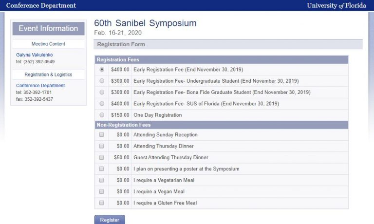 "An image of a sample registration page. ""Social"" option must be selected at the same time as registration for the symposium"
