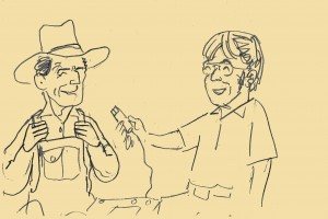 An original drawing from the 1970s interviews, Dr. Paredes interviewing a member of the Poarch Band in Atmore, AL.