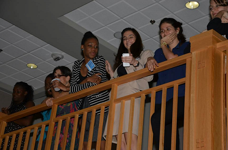 SPOHP staff and interns watching the panel from the second floor of Pugh Hall. Photo by Cornelius Clayton.