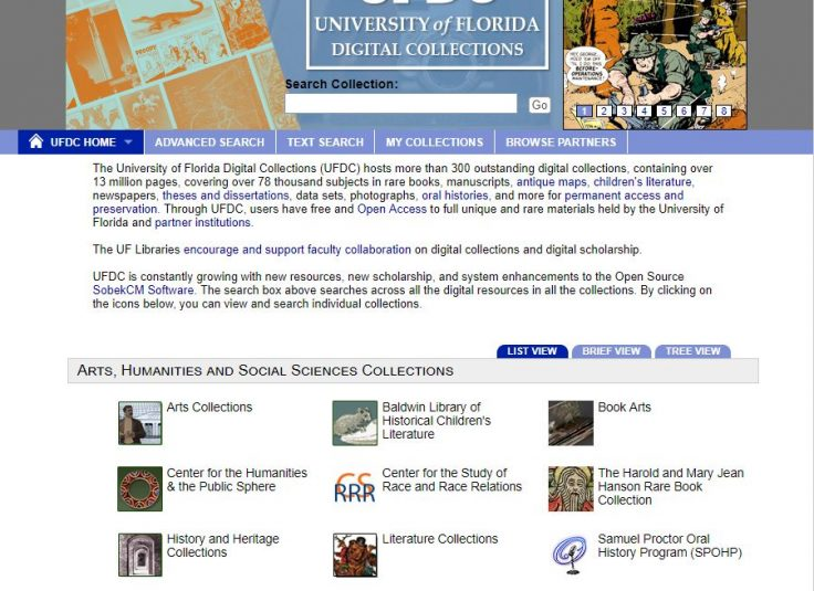 University of Florida Digital Collections Screenshot