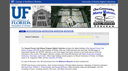 Link to Smathers Libraries archives website